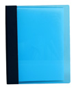 Blue acrylic menu cover with wrapped spine and screw post design on interior to hold multiple insert sheets.