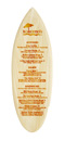 Laser etched wood surfboard menu.