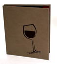 die-cut wine glass cover with a burgundy backing. Cover is designed with screw posts to hold multiple changeable menu boards.