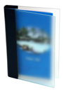 frosted acrylic pool menu cover with screw posts to hold multiple 4 color plastic inserts.