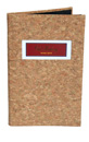 Cork menu cover with 4 color tip-in logo designed bookstyl to hold four 8.5 x 14 insert sheets. Click on image to see interior photo.