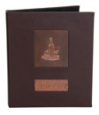 wine list cover with copper tip-in logos, designed with 3 ring binder on the interior to hold multiple 8.5 x 11 inserts.